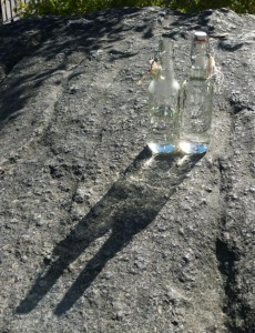 Glittering water bottles